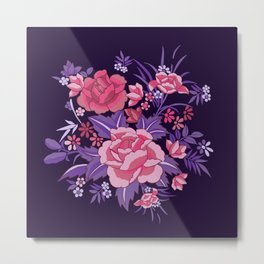 Mexican Flowers Purple Metal Print