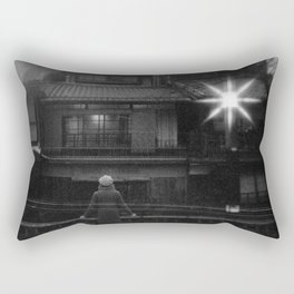Girl in the Streetlights of Gion, Kyoto - Black and White Double Exposure Film Photograph Rectangular Pillow
