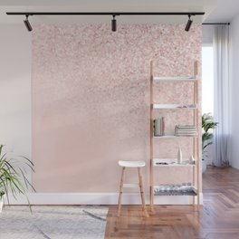 She Sparkles Rose Gold Pastel Light Pink Luxe Wall Mural