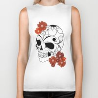 sugar skull Biker Tanks featuring Sugar Skull by Tanya Thomas