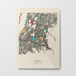 Colorful City Maps: Bronx, New York Metal Print