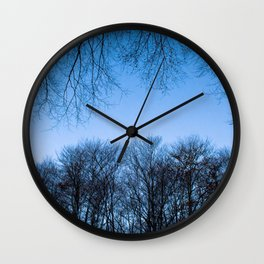 Typical autumnal postcard from the woods, with a scary atmosphere Wall Clock
