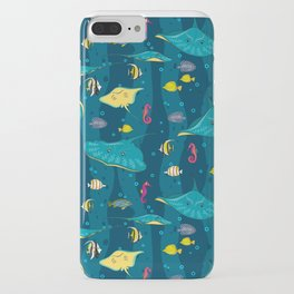Decorative seamless pattern with sea fish on blue background. iPhone Case