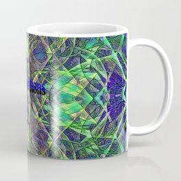 Blue Green Stained Glass Multicolor Pattern  Coffee Mug
