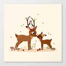 Bisou ma biche Canvas Print
