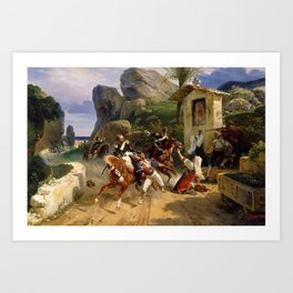 Classical Masterpiece Italian Brigands Surprised by Papal Troops by Horace Vernet Art Print