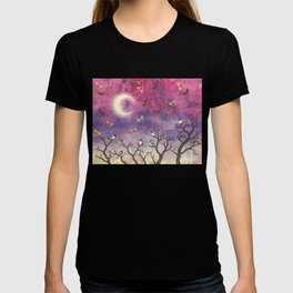 chickadees and io moths in the moonlit sky T-shirt