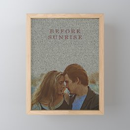 Text Portrait of Ethan Hawke and Julie Delpy with Full Script of the movie Before Sunrise Framed Mini Art Print
