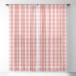 lavender orange plaid gingham Sheer Curtain