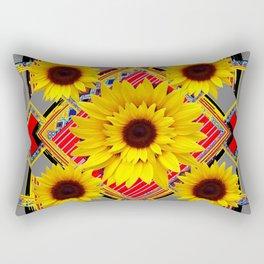 WESTERN STYLE RED-GREY SUNFLOWER MODERN ART Rectangular Pillow