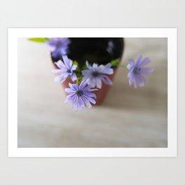Purple wildflowers in cup Art Print