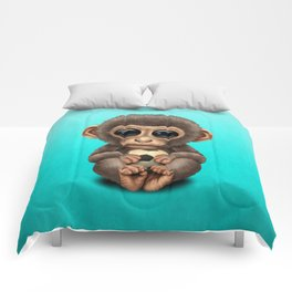Cute Baby Monkey With Football Soccer Ball Comforters