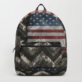 Wolf Gray Digital Camo Chevrons with American Flag Backpack