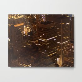 new york cityscape skyscrapers skyline at night texture pattern Metal Print