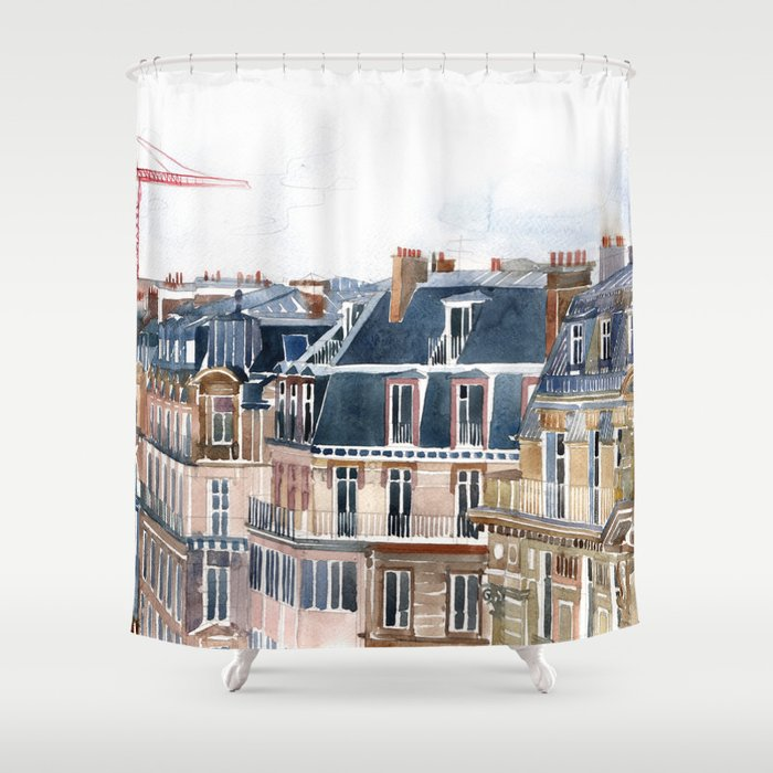 Roofs Of Paris Shower Curtain