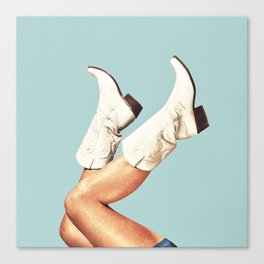 These Boots - Blue Canvas Print
