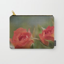Double Orange Miniature Rose Carry-All Pouch