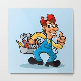 handyman holding  tool box Metal Print