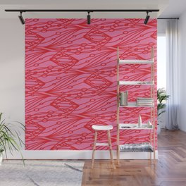 Pink molecular helix with diagonal circles on strawberry background. Wall Mural