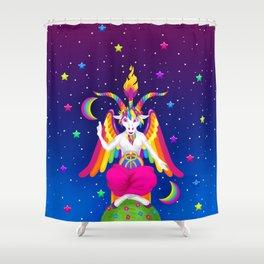 1997 Neon Rainbow Baphomet Shower Curtain