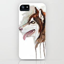 Brown Husky Profile Portrait iPhone Case