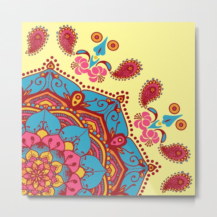 Frondescence Mandala Blue & Pink On Yellow Metal Print