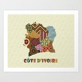 Côte d'ivoire Map Art Print