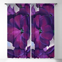 Purple Petunias Sill Life Floral Painting by Georgia O'Keeffe Blackout Curtain