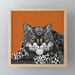 snow leopard orange Framed Mini Art Print