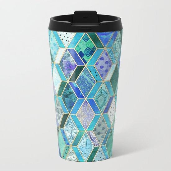 Sapphire & Emerald Diamond Patchwork Pattern Metal Travel Mug