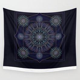 Neon Geometry in Blue Mandala Wall Tapestry