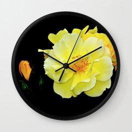 Yellow roses on black Wall Clock