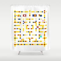 pac man Shower Curtains featuring Pac-Man Boogie Woogie by Jake Friedman