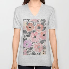 Elegant simple watercolor floral Unisex V-Neck