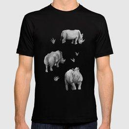 Rhino's Grazing - Black & White T-shirt