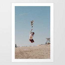 The Race of Gentlemen Flag Girl Art Print