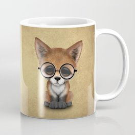 Cute Red Fox Cub Wearing Glasses Coffee Mug
