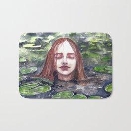 Girl in a lake, watercolor Bath Mat