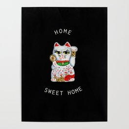 White Manekineko Cat and Kittens Poster