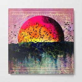Neon Pastel Mystic Mountain Sun Metal Print