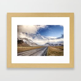 The road past the volcano. Framed Art Print