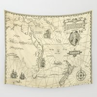 maps Wall Tapestries featuring Old Maps by tanduksapi