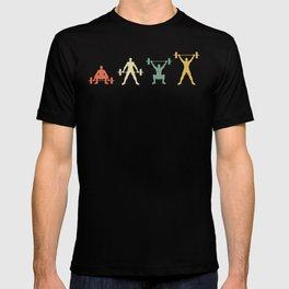 Retro Weightlifting Deadlift Fitness Gym Design  T-shirt