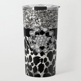 Animal Print Leopard Glam Silver and Black Diamond Travel Mug