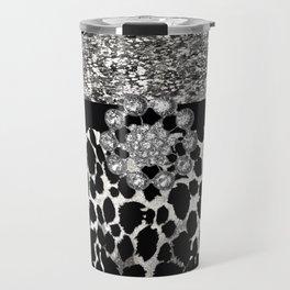 Animal Print Leopard Glam Silver and Black Diamond Travel Mug