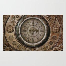 Brown Grunge Vintage Steampunk Clock Rug