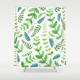 Greenery Leaves Pattern Shower Curtain