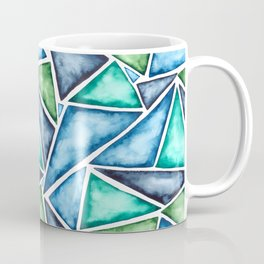 Large scale fragmentation. Watercolor triangles. Coffee Mug