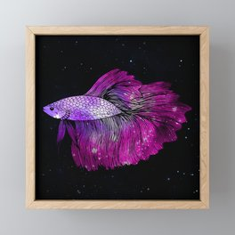 Pink Galaxy Betta Fish Framed Mini Art Print
