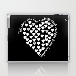 Hearts Heart Teacher White on Black Laptop & iPad Skin